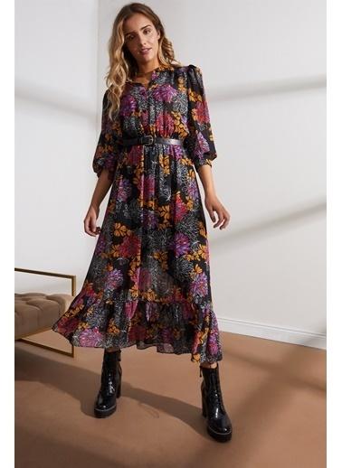 Setre  Kemerli Floral Desen Midi Elbise Siyah